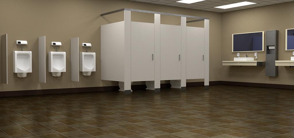 uma opção para os banheiros masculinos é oferecer um espelho menor para cada cuba